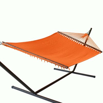 Jumbo Caribbean Polyester Tree Hammock Color: Orange