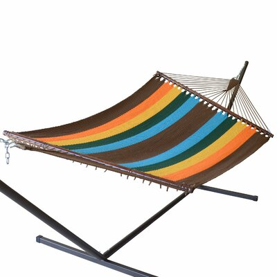 Jumbo Caribbean Polyester Hammock Color: Multicolor Orange