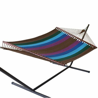 Jumbo Caribbean Polyester Hammock Color: Multicolor Green