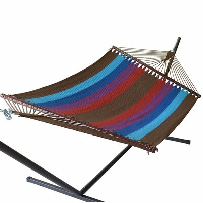 Jumbo Caribbean Polyester Hammock Color: Multicolor Light Blue