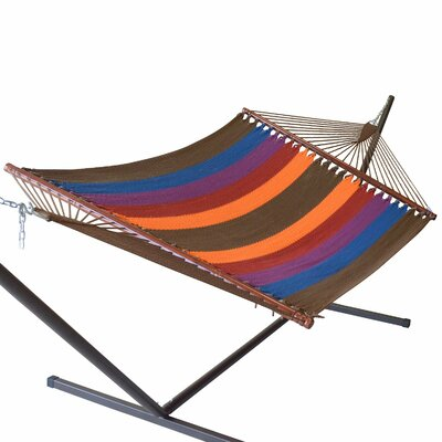 Jumbo Caribbean Polyester Hammock Color: Multicolor Dark Blue