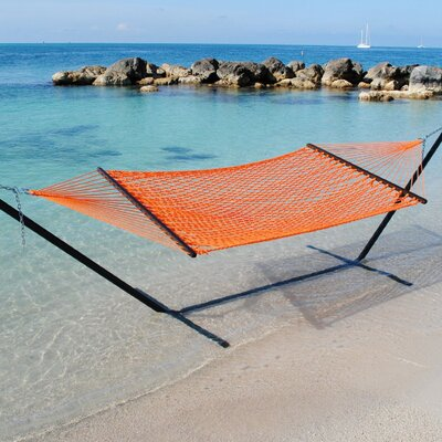 Caribbean Rope Polyester Tree Hammock Color: Orange
