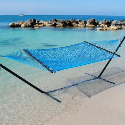Caribbean Rope Polyester Tree Hammock Color: Light Blue