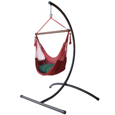 Caribbean Polyester Chair Hammock with Stand Color: Red