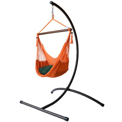 Caribbean Polyester Chair Hammock with Stand Color: Orange