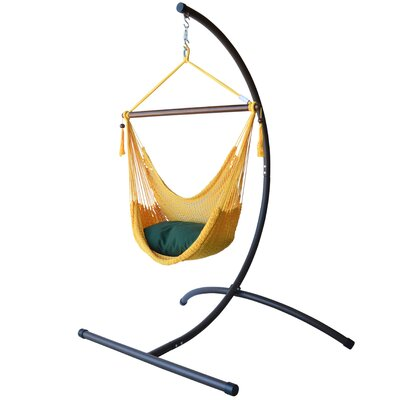 Caribbean Polyester Chair Hammock with Stand Color: Yellow