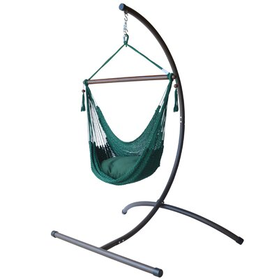 Caribbean Polyester Chair Hammock with Stand Color: Green