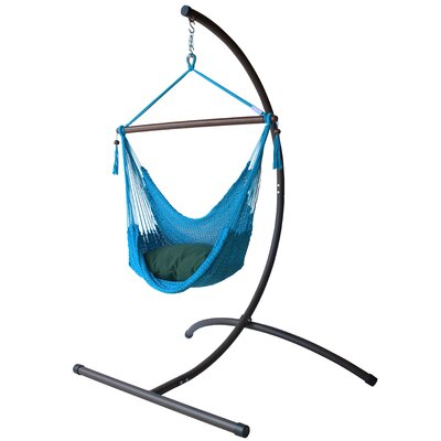 Caribbean Polyester Chair Hammock with Stand Color: Light Blue