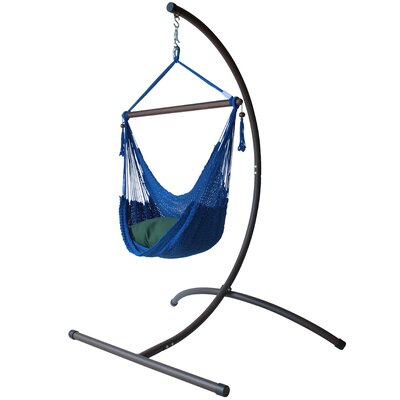 Caribbean Polyester Chair Hammock with Stand Color: Dark Blue
