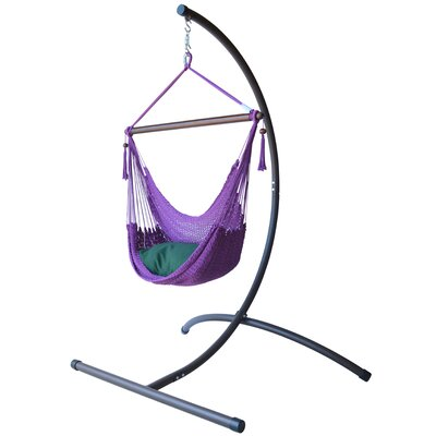 Caribbean Polyester Chair Hammock with Stand Color: Purple