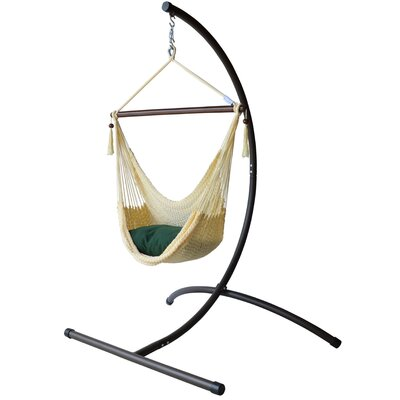 Caribbean Polyester Chair Hammock with Stand Color: Cream