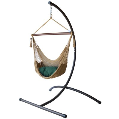 Caribbean Polyester Chair Hammock with Stand Color: Tan