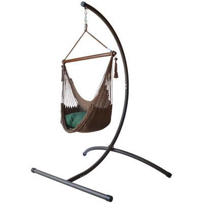 Caribbean Polyester Chair Hammock with Stand Color: Mocha