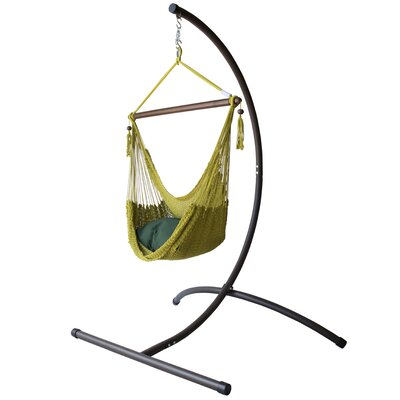 Caribbean Polyester Chair Hammock with Stand Color: Olive