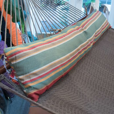 Caribbean Double Hammock Bolster Pillow Color: Green Red Stripe