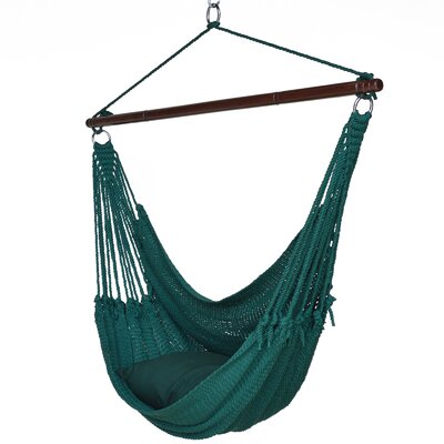 Jumbo Caribbean Polyester Chair Hammock Color: Green