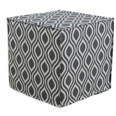 Furniture-Nichole Seamed Cube Ottoman Upholstery Grey