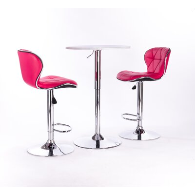 Adjustable Height Swivel Bar Stool Color: Pink
