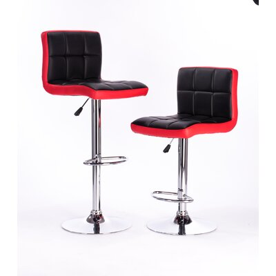 Adjustable Height Swivel Bar Stool Color: Red