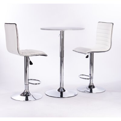 Adjustable Height Swivel Bar Stool Color: White