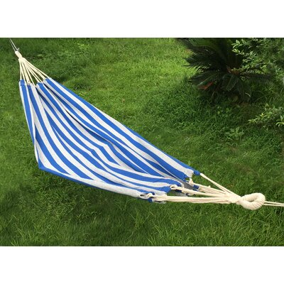 Cotton and Polyester Camping Hammock Color: Blue/White