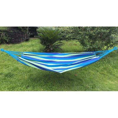 Cotton and Polyester Camping Hammock Color: Blue/Green