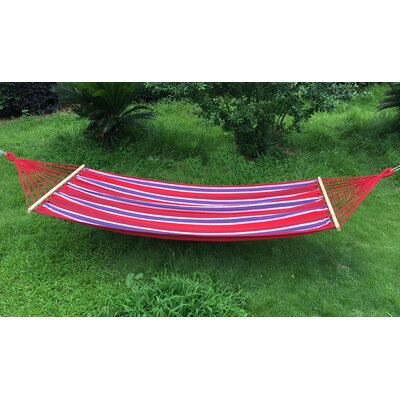 Cotton and Polyester Camping Hammock Color: Red/Blue