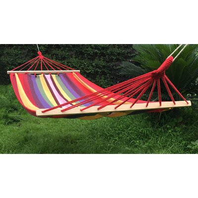 Cotton and Polyester Camping Hammock Color: Red/Yellow