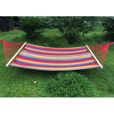 Cotton and Polyester Camping Hammock Color: Yellow/Blue