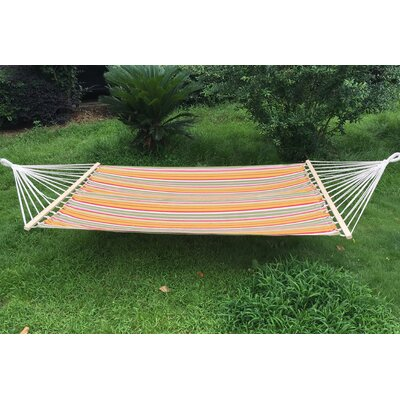 Cotton and Polyester Camping Hammock Color: Green/Orange/Pink