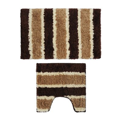 2 Piece Bath Rug Set Color: Brown