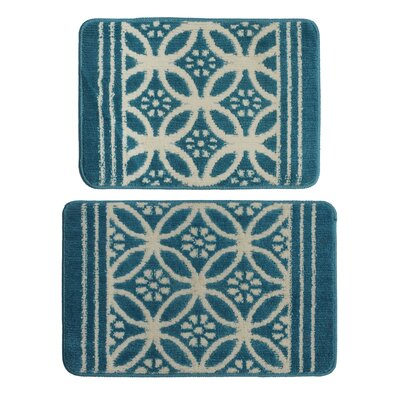 2 Piece Blue/Cream Area Rug Set