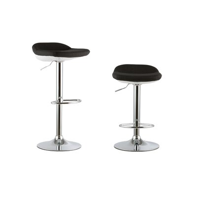 2 Piece Adjustable Height Swivel Bar Stool Set Color: Black