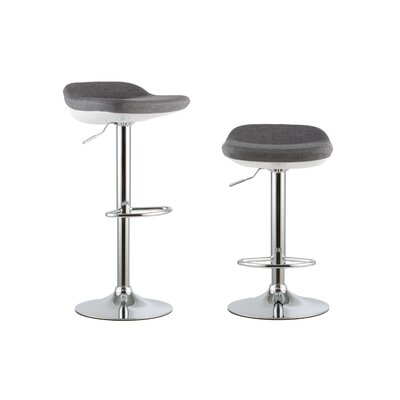2 Piece Adjustable Height Swivel Bar Stool Set Color: Gray