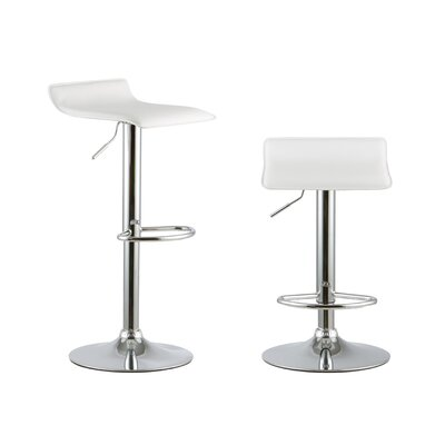 2 Piece Adjustable Height Swivel Bar Stool Set Color: White