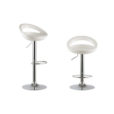 Adjustable Height Swivel Bar Stool Set Color: White