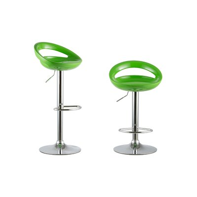 Adjustable Height Swivel Bar Stool Set Color: Green