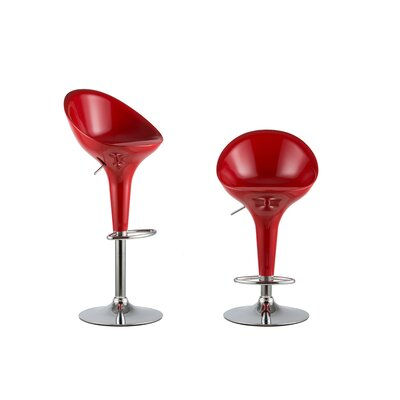 Adjustable Height Swivel Bar Stool Set Color: Red