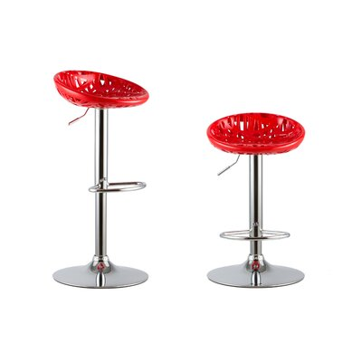 Adjustable Height Swivel Bar Stools Color: Red