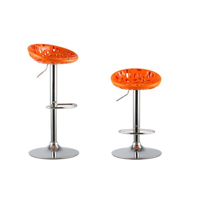 Adjustable Height Swivel Bar Stools Color: Orange