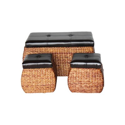 3 Piece Wicker Trunk and Ottoman Set