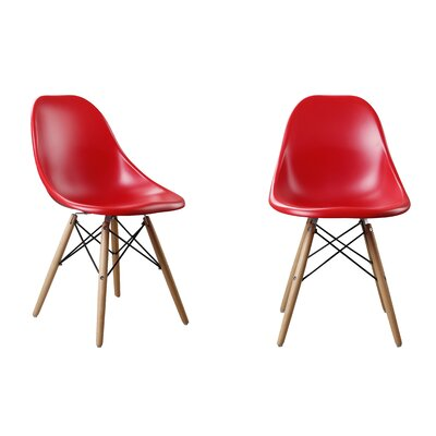Modern Designer Plastic Dinning Side Chair Color: Red