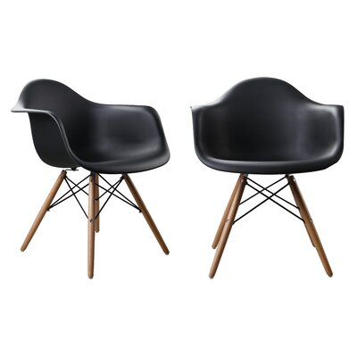 Modern Designer Plastic Dinning Side Chair Finish: Black