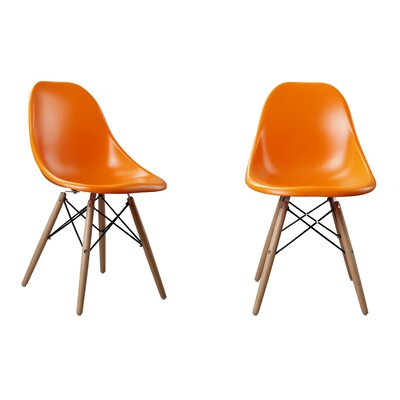 Modern Designer Plastic Dinning Side Chair Color: Orange