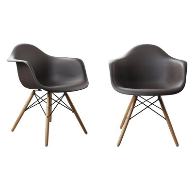 Modern Designer Plastic Dinning Side Chair Finish: Brown