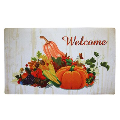 Fairview Rectangle Welcome Fall Harvest Time Vinyl Back Painting Doormat
