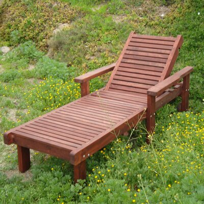 Varda Rustic Wood Chaise Lounge Finish: Mahogany