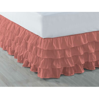 Ruffled Bed Skirt Color: Coral, Size: Full