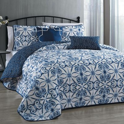 Paloma 5 Piece Reversible Quilt Set Size: King, Color: Navy