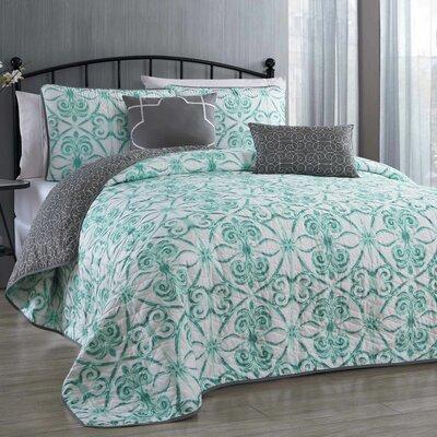 Paloma 5 Piece Reversible Quilt Set Size: Queen, Color: Sage
